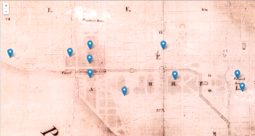 An aged map with faint boundary lines and streets. Blue pinpoints have been superimposed.