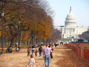 Visitors walking the paths of the National Mall.