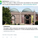 Screencap of a post on twitter displaying the National Museum of African Art photograph and text.