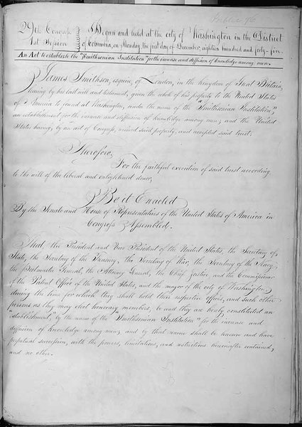 Act of August 10, 1846 [An Act to Establish the Smithsonian Institution], 08/10/1846