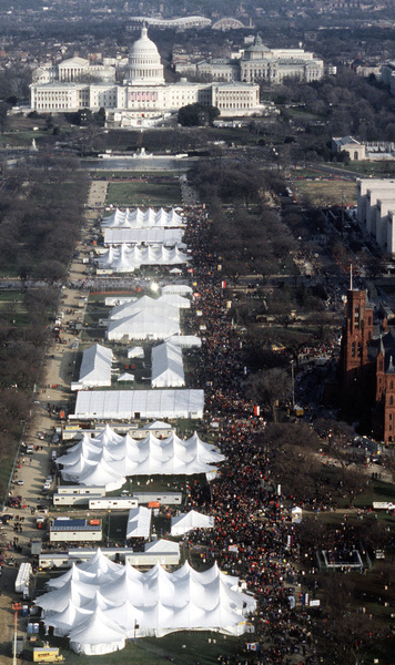 The National Mall a seen from the atop the Washington Monument, as thousands of people turn out to see the American Reunion Celebration
