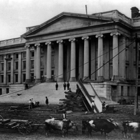 Construction of Treasury Building, Washington, D.C. With oxen in foreground on south side